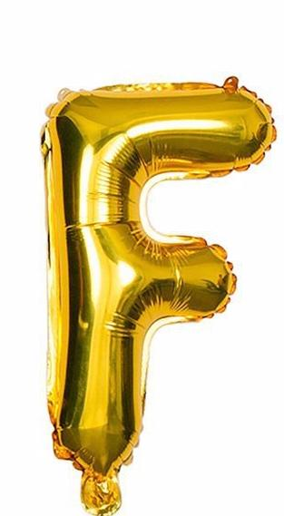 'F' Gold Letter Balloon
