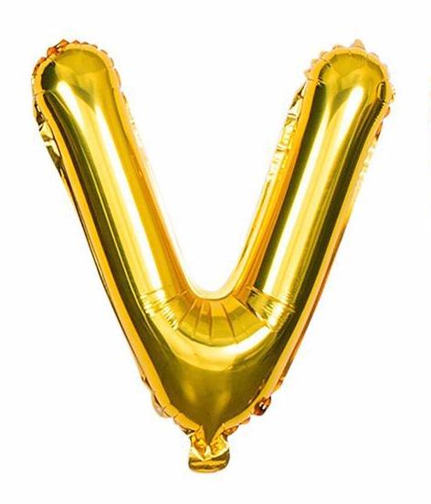 'V' Gold Letter Balloon