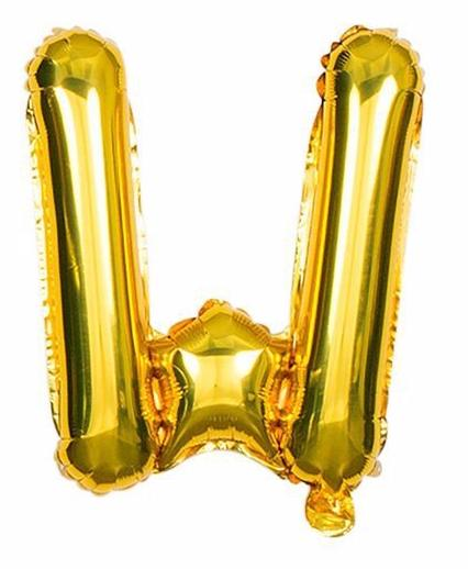 'W' Gold Letter Balloon