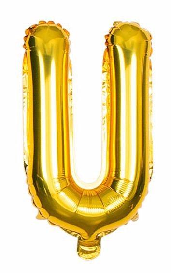 'U' Gold Letter Balloon