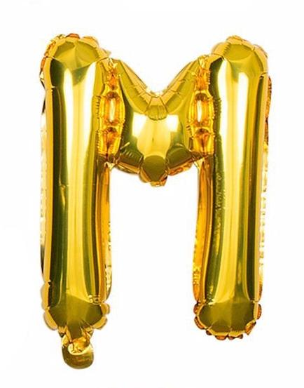 'M' Gold Letter Balloon