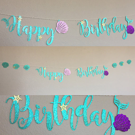 Mermaid Happy Birthday Garland
