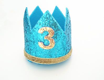 Birthday Glitter Crown in Baby Blue