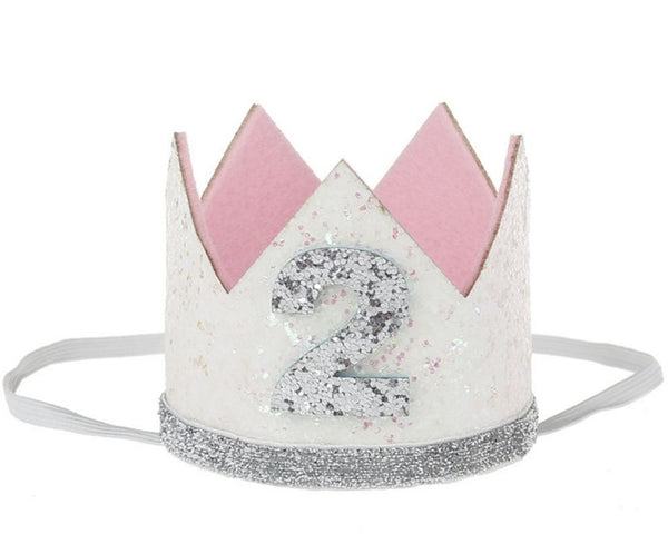 Birthday Glitter Crown in White