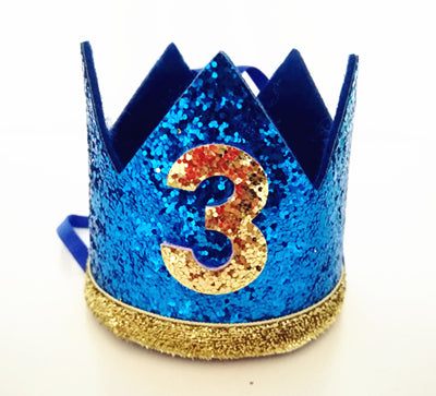 Birthday Glitter Crown in Royal Blue