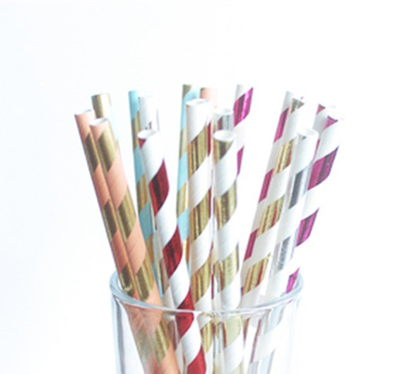Mixed Metallic Foil Stripe Paper Straws