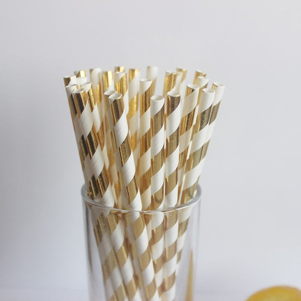 Gold Metallic Foil Stripe Paper Straws