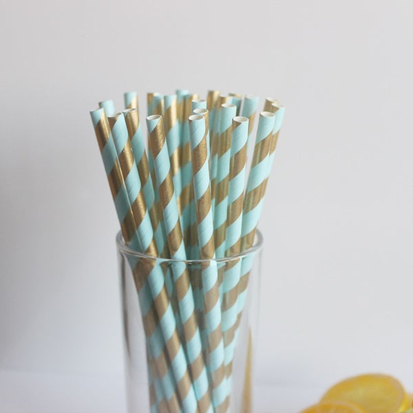 Blue & Gold Metallic Foil Stripe Paper Straws