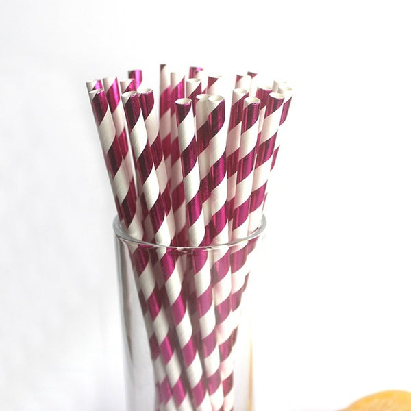 Hot Pink Metallic Foil Stripe Paper Straws