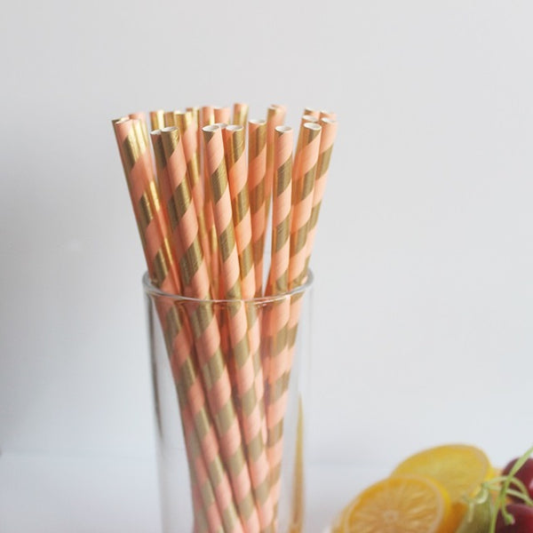 Peach & Gold Metallic Foil Stripe Paper Straws