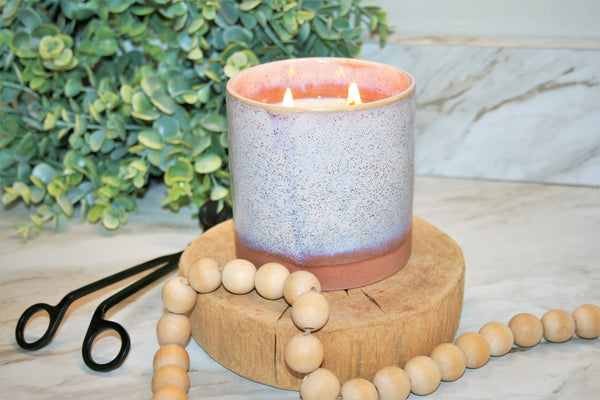 16 oz. Purple and Coral Speckle Ceramic Candle