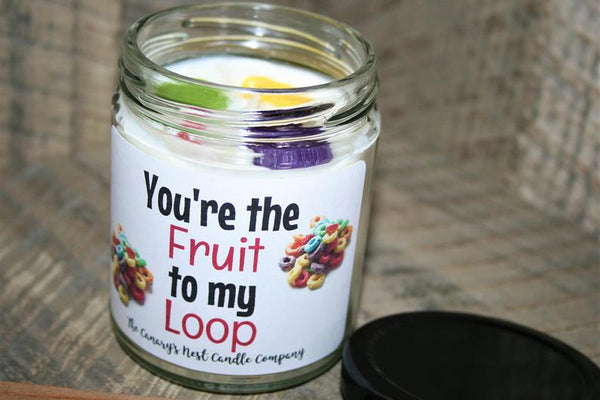 """You're the Fruit to my Loop"" Fruit Loops Scented Soy Candle, 8 oz. Candle"