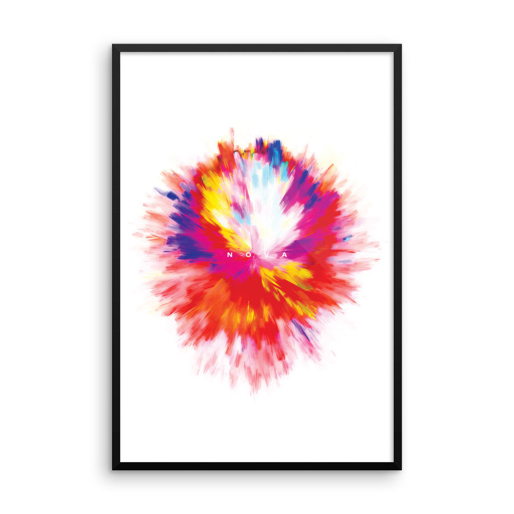 Nova - Multi-Color w/ White Background - Wall Art from Art Above All. With an explosion of color, brighten up any neutral wall in your home or office with this bold framed wall print.