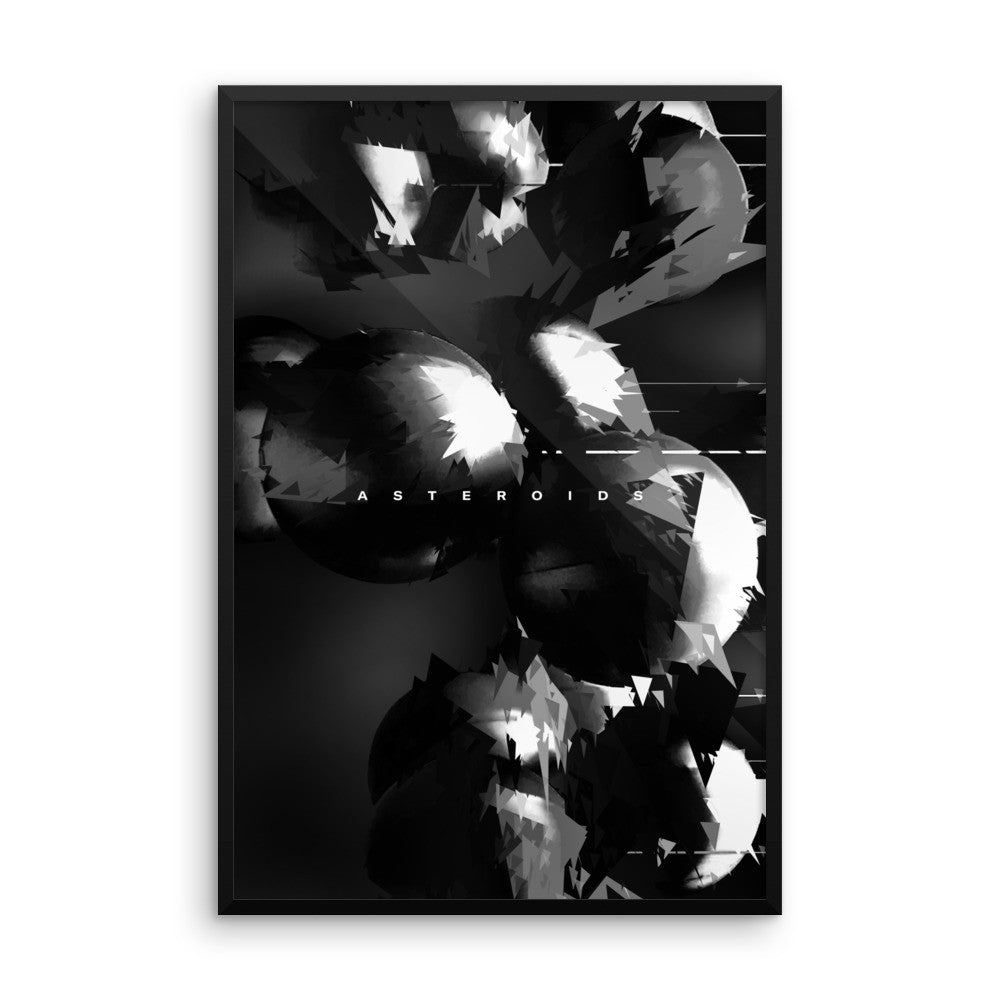 Asteroids (Black & White) - Wall Art from Art Above All. This classic black & white wall print is a great addition to anyone's living room wall décor, sparking nostalgia of childhood space gaming memories.