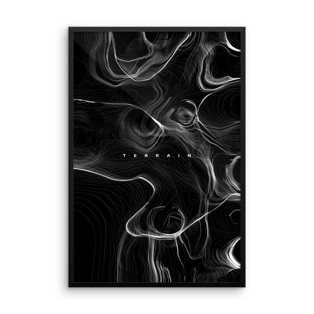 Terrain (Black) - Wall Art from Art Above All. Immortalize this classical black and white framed wall print to your home and office décor. This framed wall art is available in multiple sizes.
