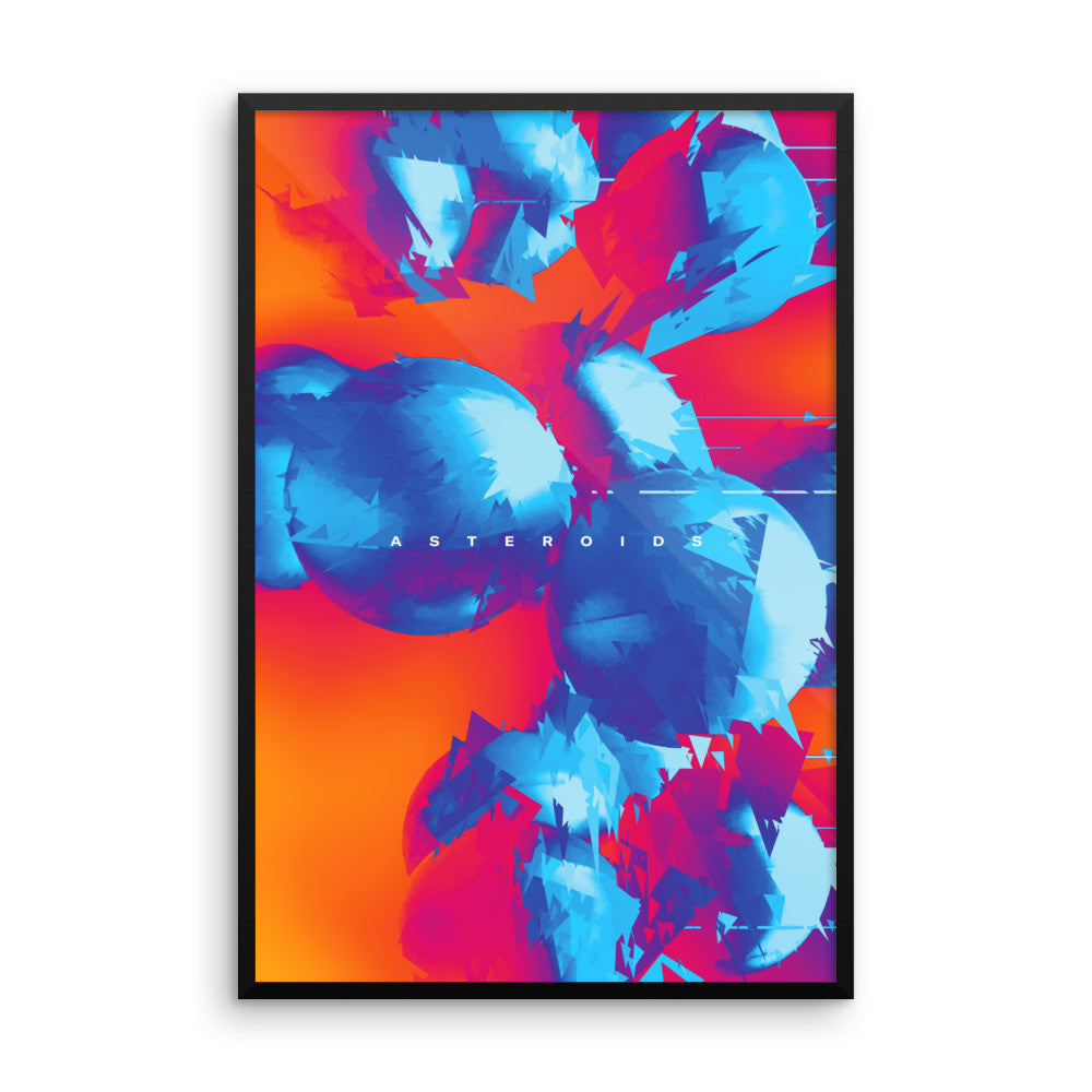 Asteroids (2 Tone) - Wall Art from Art Above All. This wall print is a great addition to anyone's living room wall decor, sparking nostalgia of childhood space gaming memories.