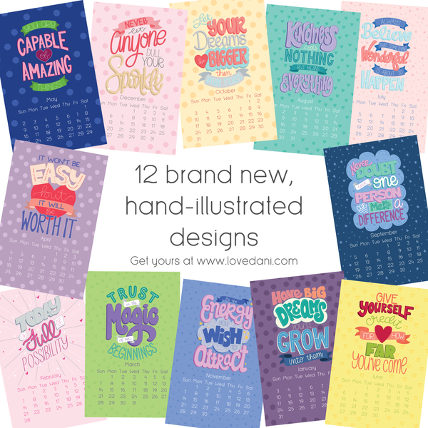 12 brand new, hand-illustrated designs.
