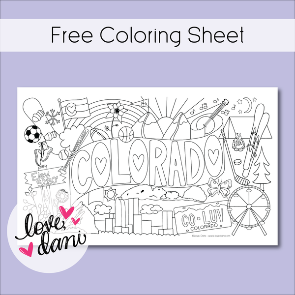 Colorado Love Coloring Sheet 8.5x14 - DIGITAL DOWNLOAD