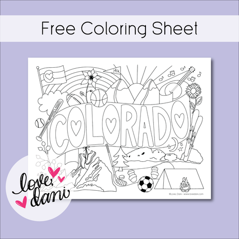 Colorado Love Coloring Sheet 8.5x11 - DIGITAL DOWNLOAD