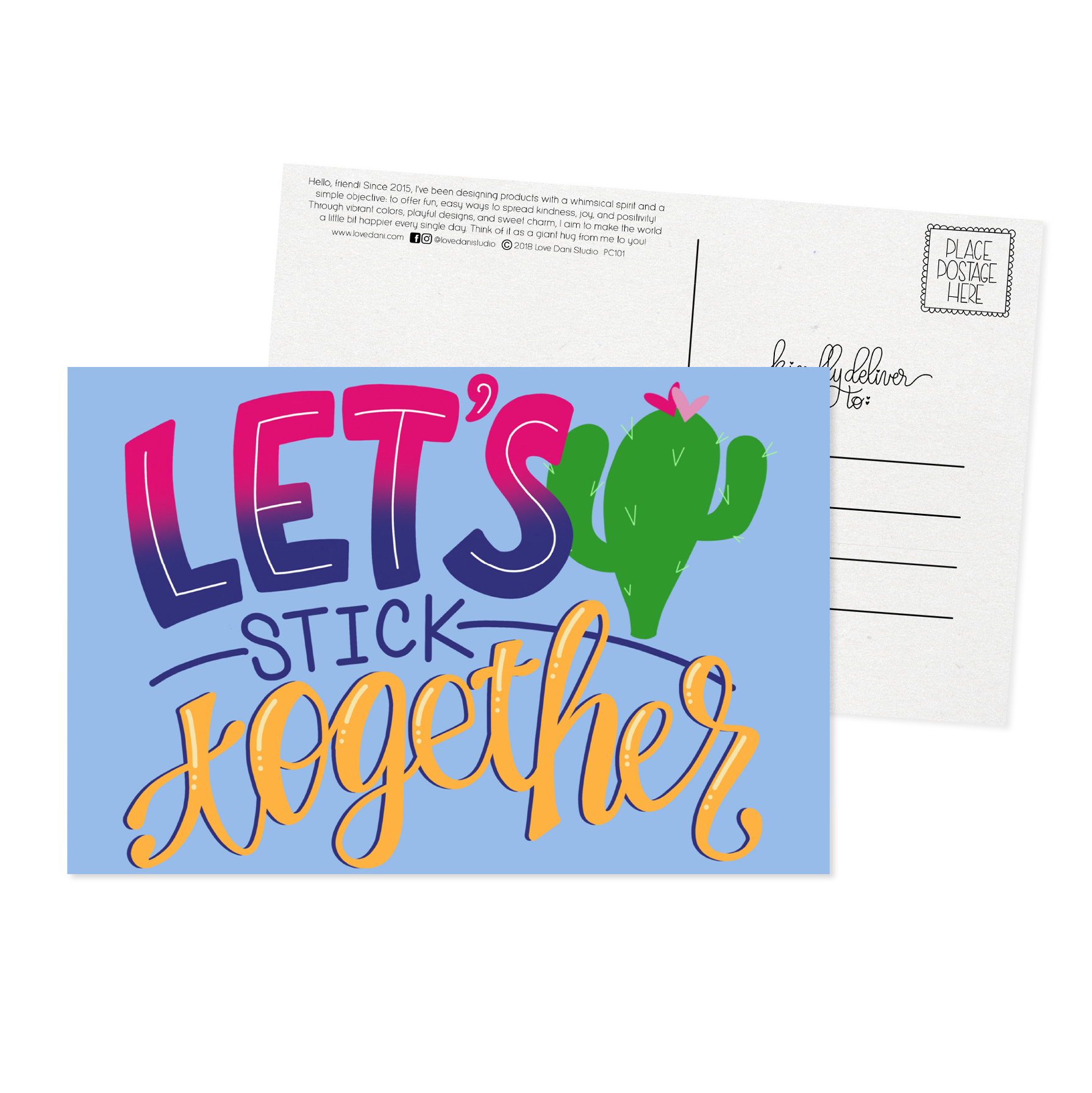 Let's Stick Together - Postcard