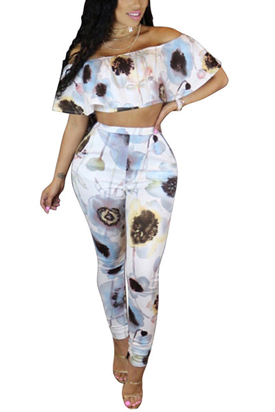 Fashion dew shoulder printed white milk fiber two piece pants set