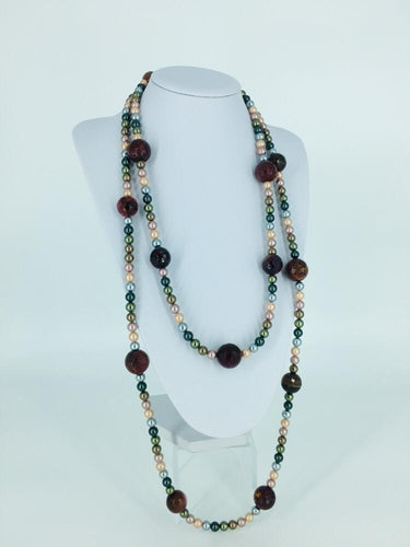 Rhodolite and Multicolored Pearls