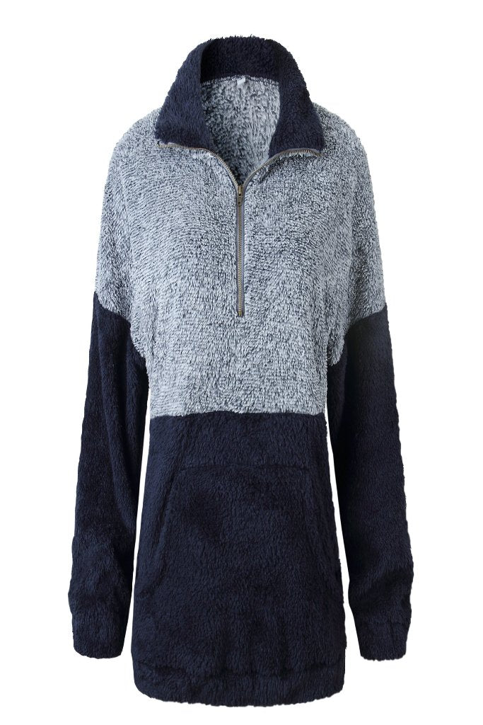 TWO TONE PLUSH PULLOVER WITH POCKETS