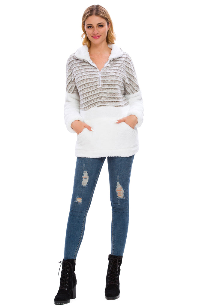 LONG SLEEVE STRIPED COLOR CLOCK SHERPA PULLOVER