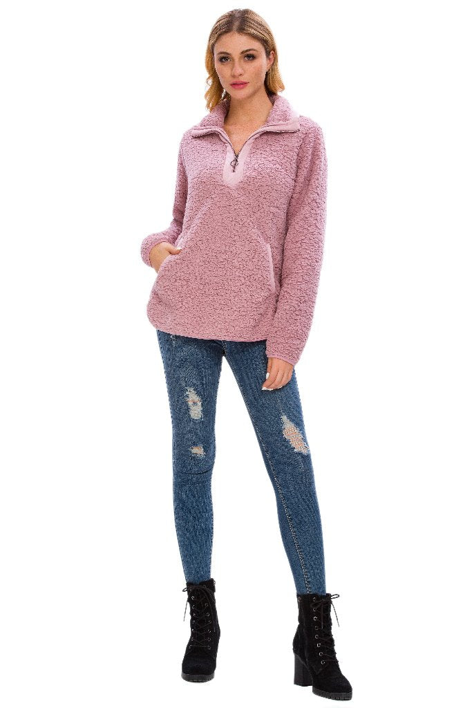 DS LONG SLEEVE LOOSE SHERPA PULLOVER STAND COLLAR WITH POCKETS