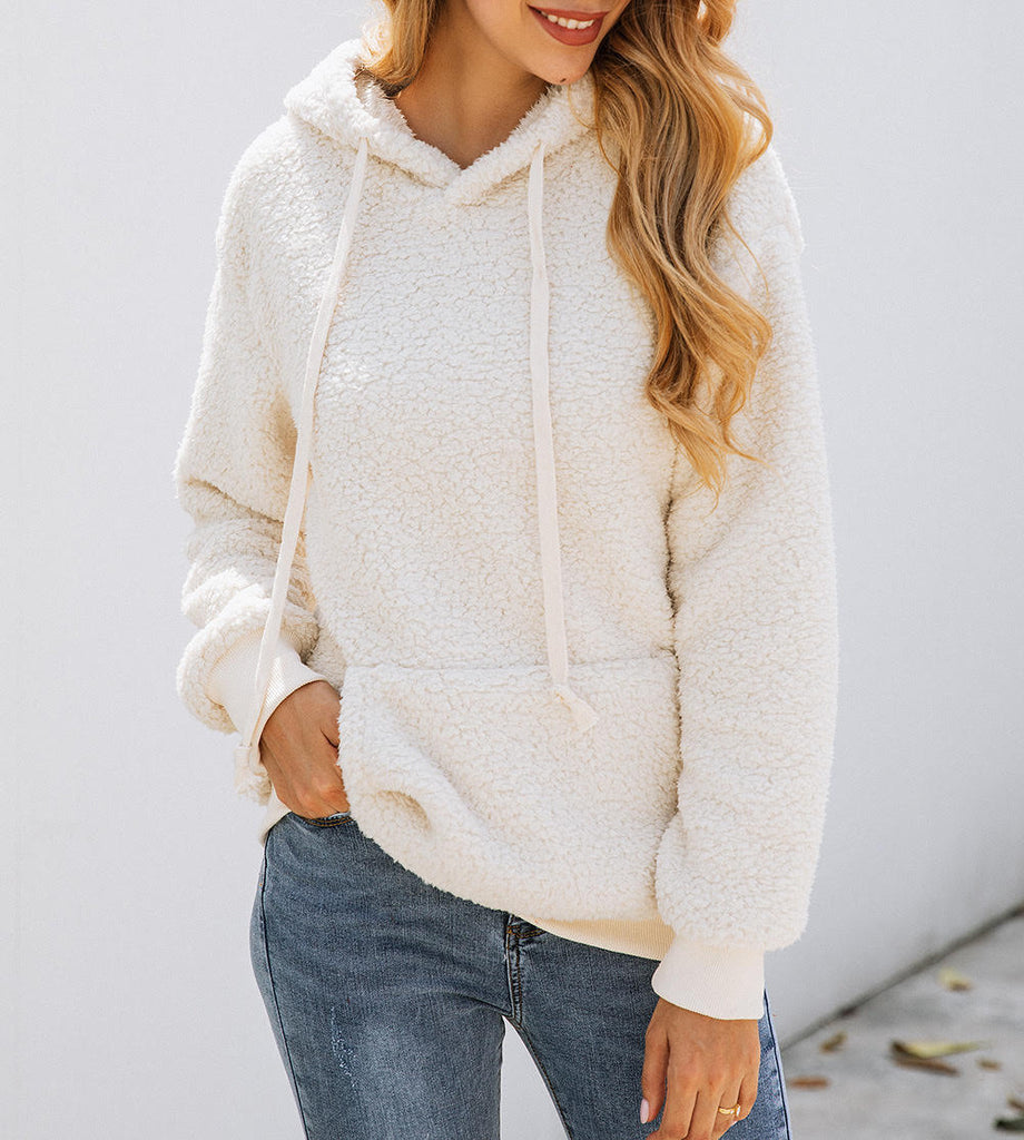 LONG SLEEVE SOLID SHERPA HOODIE WITH POCKET