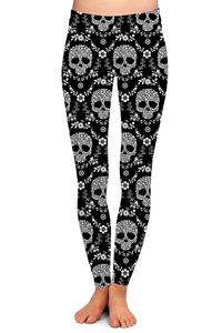 BLACK FLORAL SKULL LEGGINGS - YOGA - EXCLUSIVE!