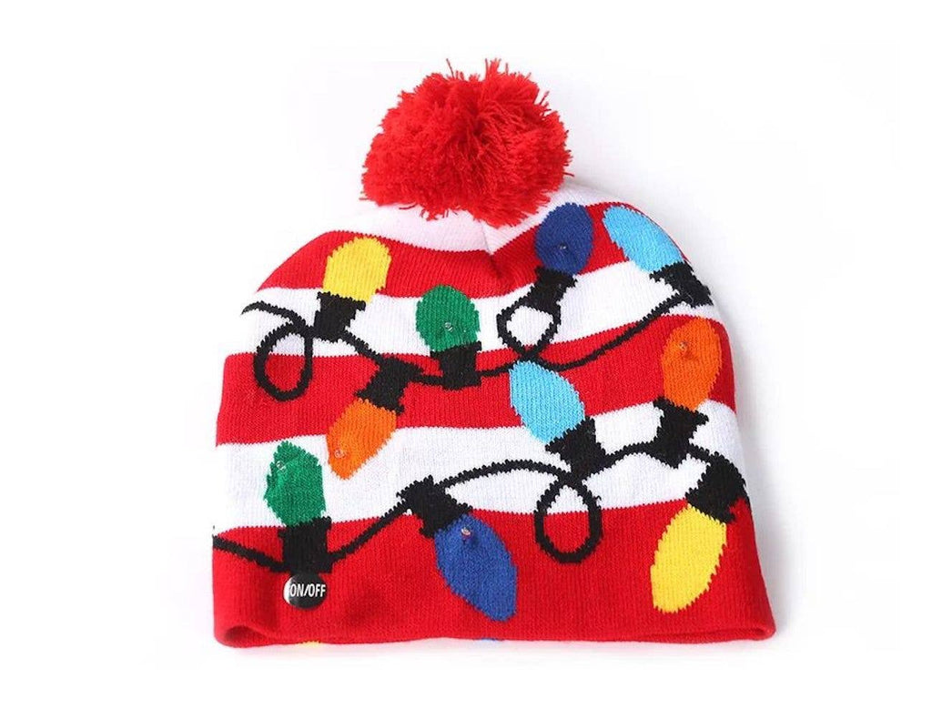 ASSORTED HOLIDAY BEANIES WITH LED LIGHTS