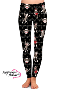 SOCK MONKEY LEGGINGS - YOGA - EXCLUSIVE!