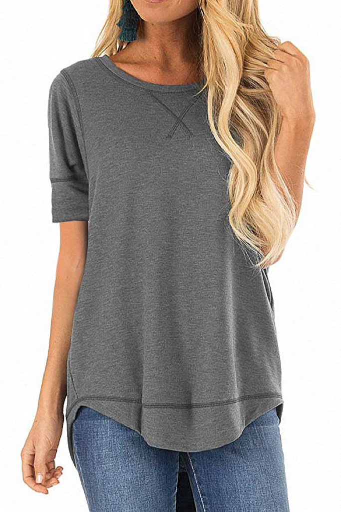 CURVED BOTTOM HEM LINE SHIRT