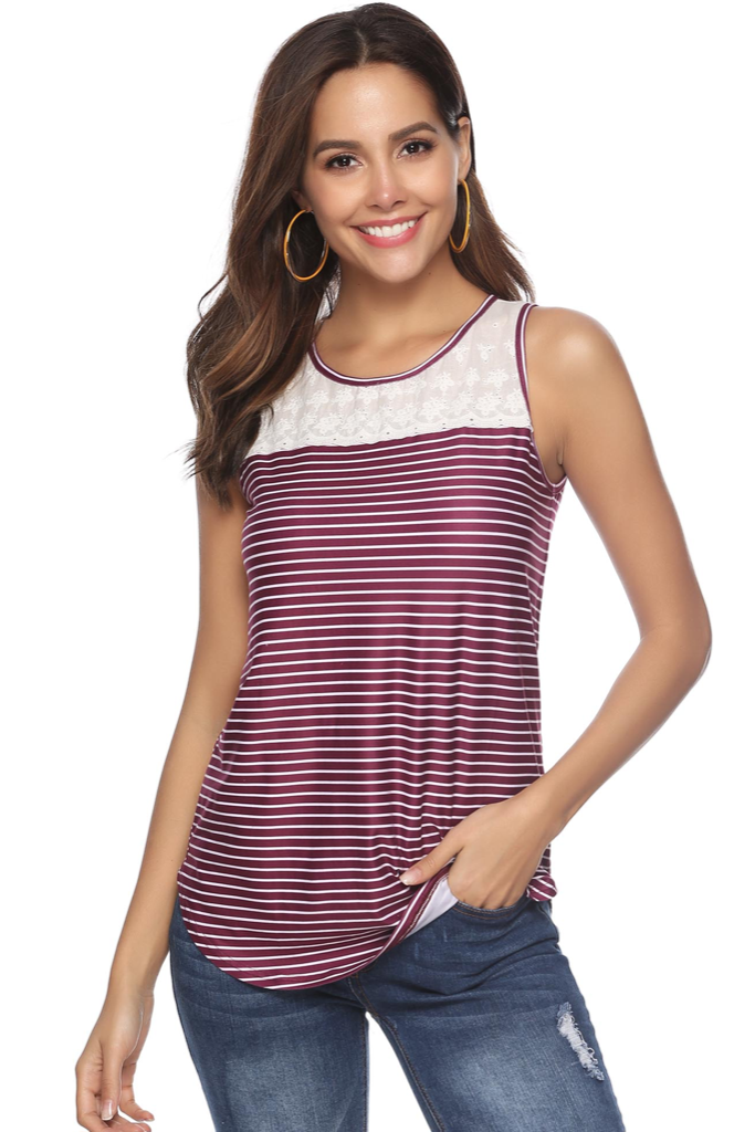 PRE ORDER LACE ACCENT STRIPED TANK