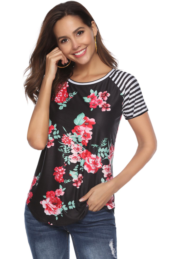 FLORAL STRIPE SCOOP NECK SHIRT