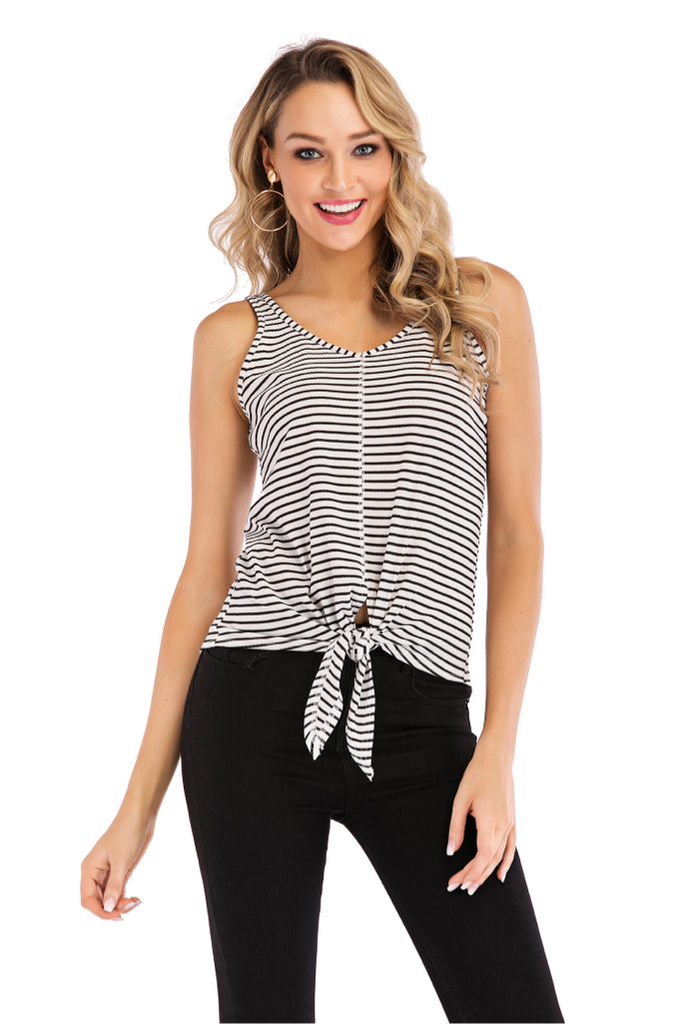 PRE ORDER SLEEVELESS STRIPED RIBBED TIE BOTTOM SHIRT