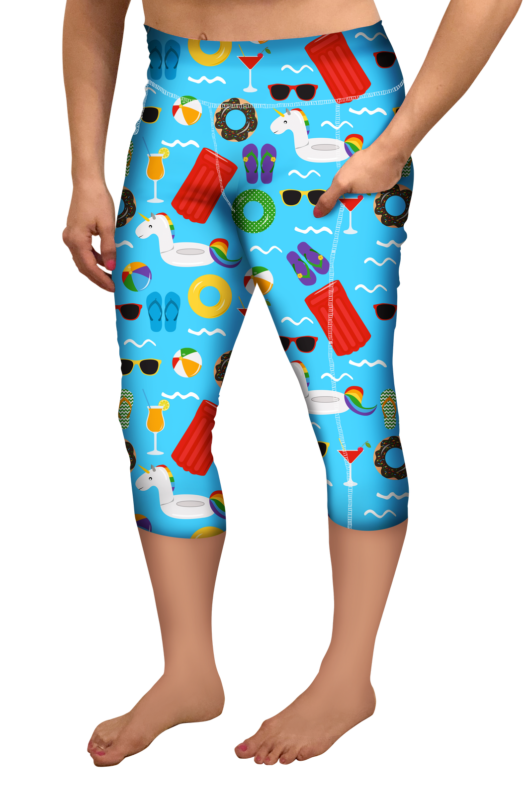 FUN IN THE SUN CAPRI LEGGINGS WITH POCKET- YOGA - EXCLUSIVE!