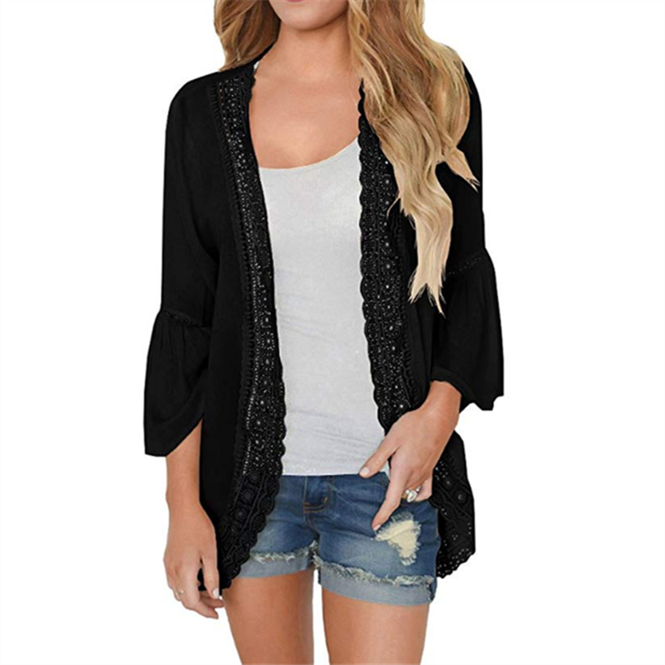 CROCHETED TRIM BELL SLEEVE CARDIGAN