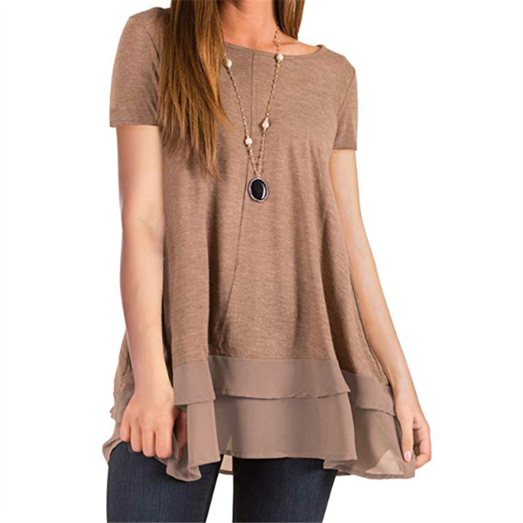 SHEER TRIM SOLID TUNIC