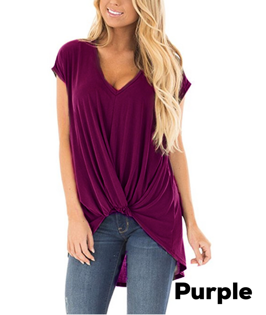 SHORT SLEEVE TWIST KNOT TOP
