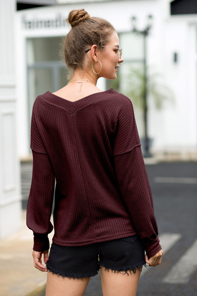 LONG SLEEVE WAFFLE KNIT TOP WITH CUFFS