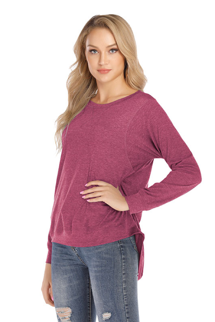 LIGHTWEIGHT LONG SLEEVE CURVED HEM LAYER SHIRT