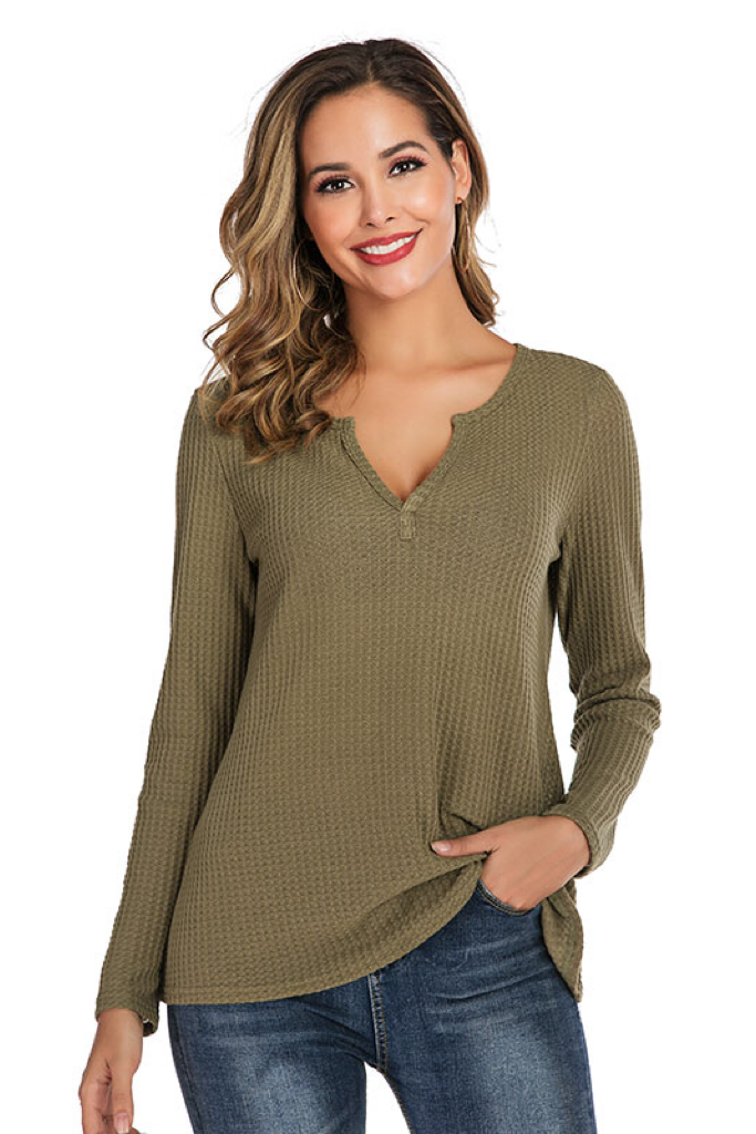 LONG SLEEVE V-NECK WAFFLE KNIT TOP