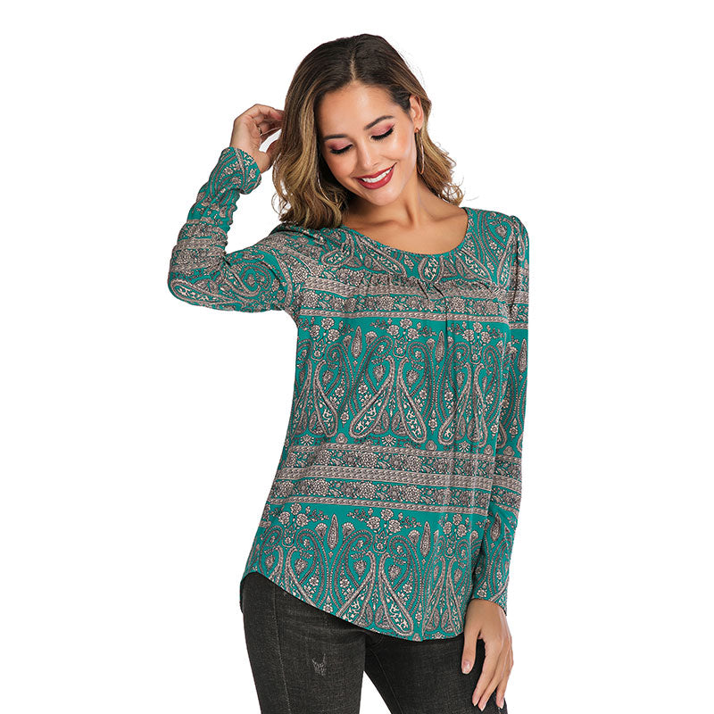 LONG SLEEVE PAISLEY BLOUSE