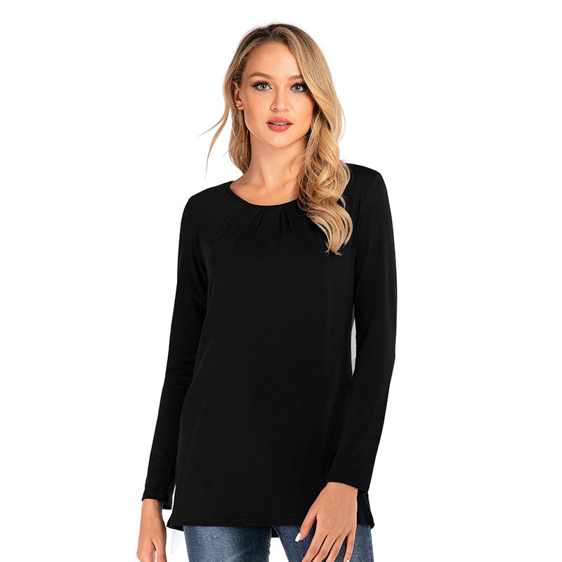 LONG SLEEVE SOLID TOP WITH RUCHED NECKLINE