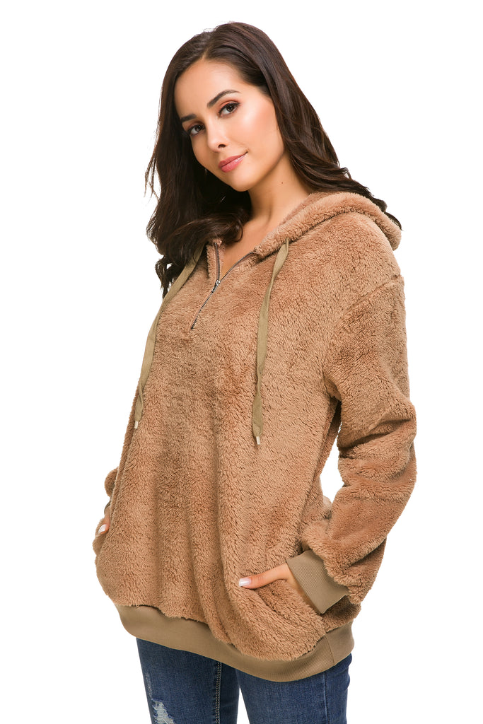 PLUSH SOLID PULLOVER HOODIE WITH POCKETS