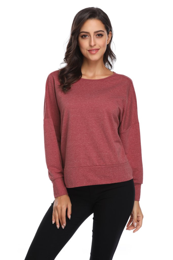 LONG SLEEVE KEYHOLE BACK SWEATER