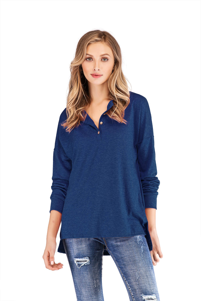 LONG SLEEVE HENLEY BUTTON V-NECK WITH SIDE SLITS