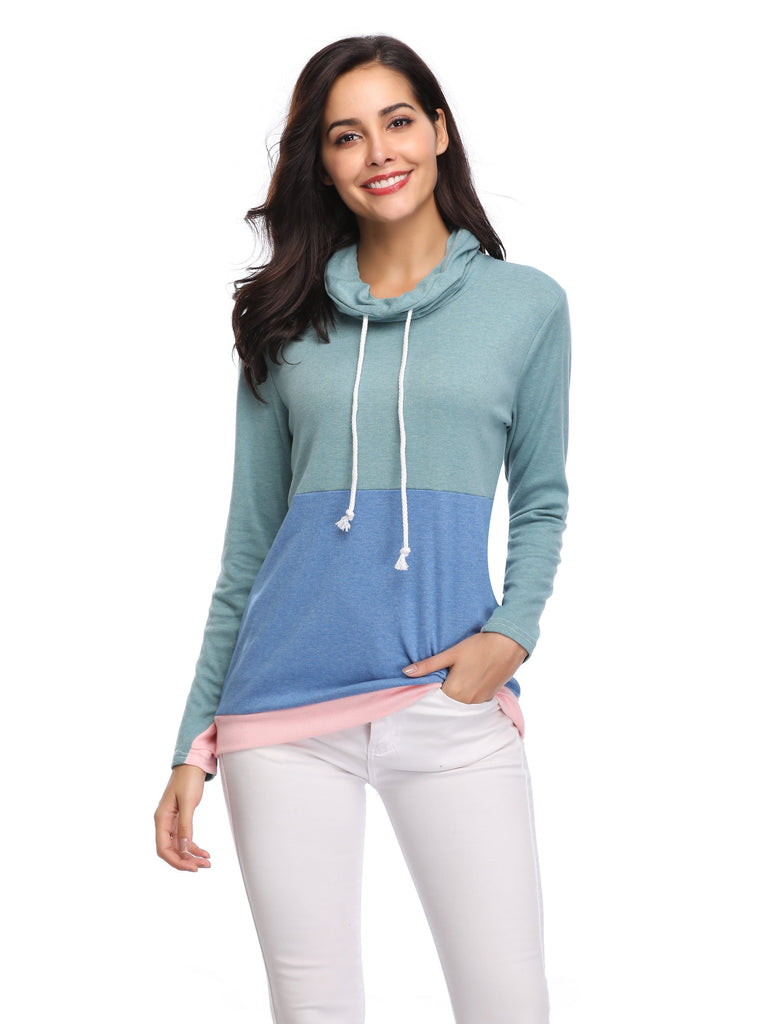 DS TWO TONE COWL NECK PULLOVER WITH THUMB HOLES (WHOLESALE)